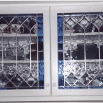 Two leaded cabinets. Bevels with clear and cobalt waterglass.
