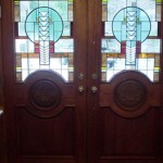 Two Southwestern style leaded glass panels for carved wooden doors. Private residence in Mashpee , MA.