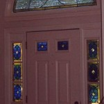Leaded sidelights, door lights, and half-round windows for private residence in Centerville, Mass.