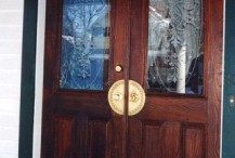 Etched safety glass with Victorian scrollwork. Hudson Valley, NY.
