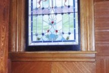 Restored window in private residence in Springfield, MA. Entire lower portion had been pushed out and smashed.